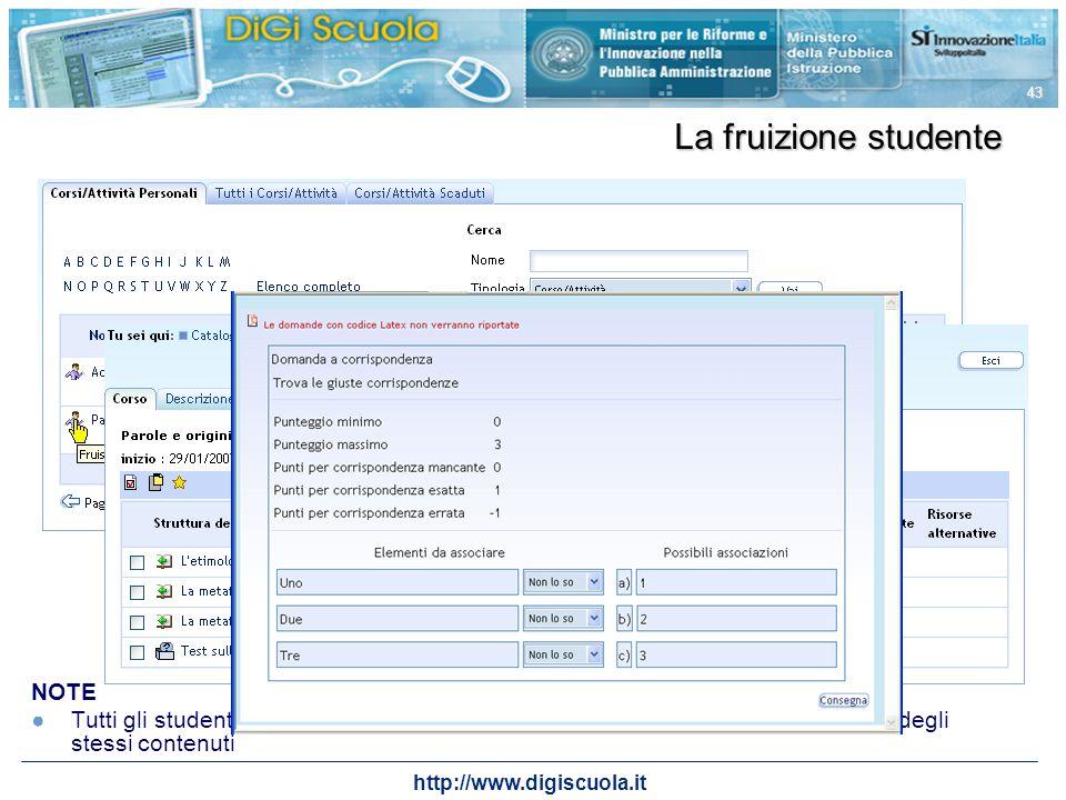 http://www.digiscuola.it 43 NOTE Tutti gli studenti iscritti a questo corso fruiranno dello stesso materiale e quindi degli stessi contenuti La fruizi
