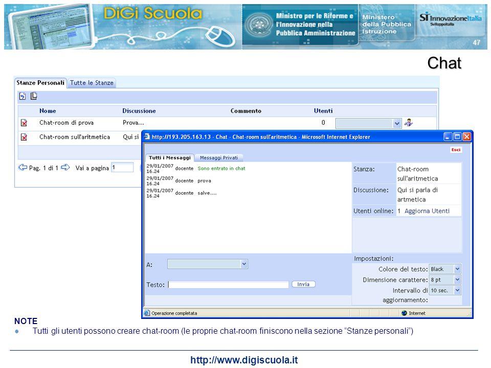 http://www.digiscuola.it 47 Chat NOTE Tutti gli utenti possono creare chat-room (le proprie chat-room finiscono nella sezione Stanze personali)