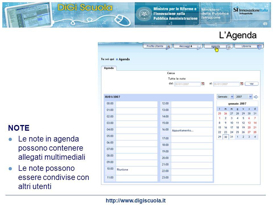 http://www.digiscuola.it 49 LAgenda NOTE Le note in agenda possono contenere allegati multimediali Le note possono essere condivise con altri utenti