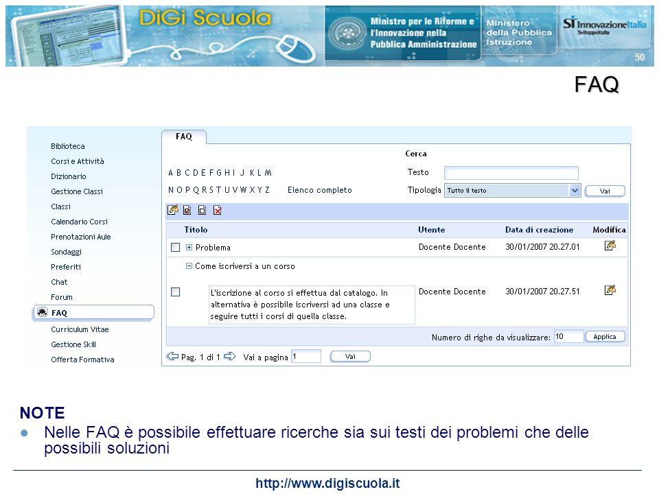 http://www.digiscuola.it 50 FAQ NOTE Nelle FAQ è possibile effettuare ricerche sia sui testi dei problemi che delle possibili soluzioni