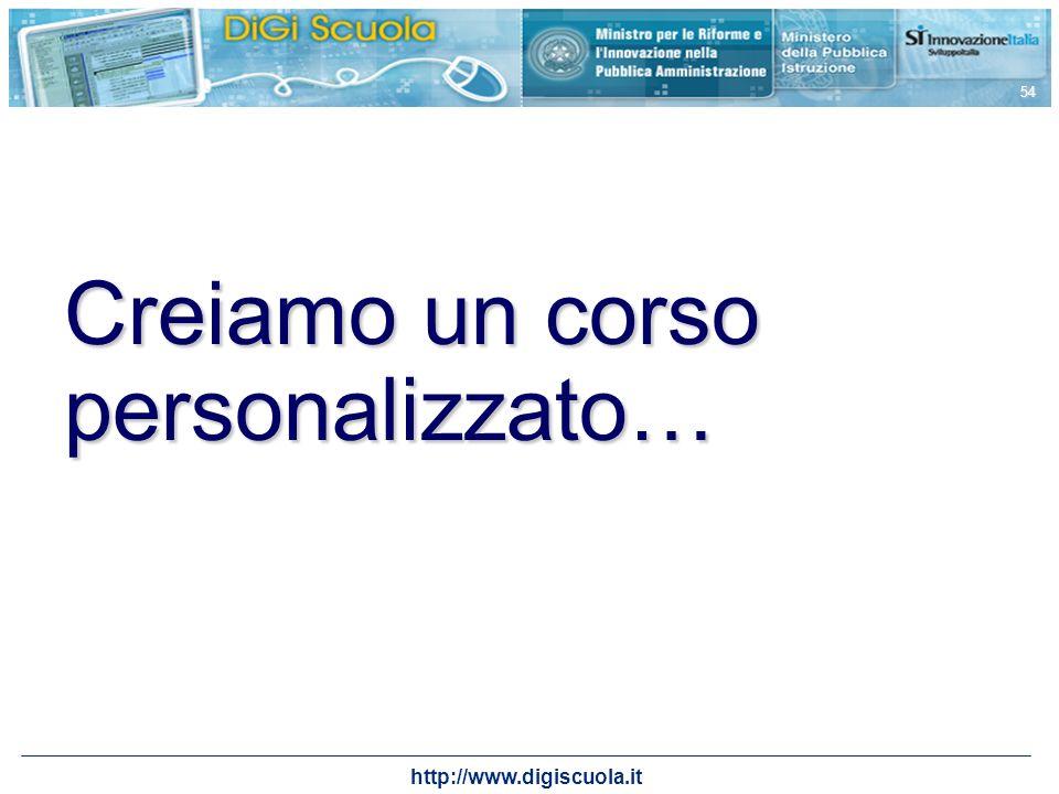 http://www.digiscuola.it 54 Creiamo un corso personalizzato…