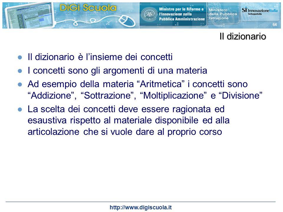 http://www.digiscuola.it 64 Il dizionario Il dizionario è linsieme dei concetti I concetti sono gli argomenti di una materia Ad esempio della materia