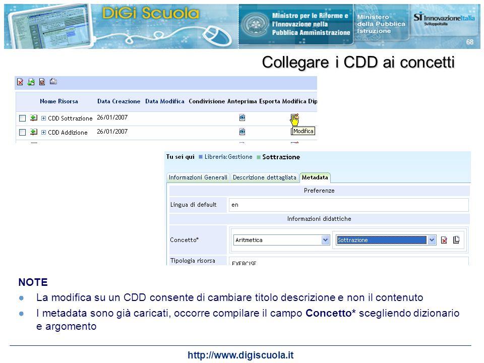 http://www.digiscuola.it 68 NOTE La modifica su un CDD consente di cambiare titolo descrizione e non il contenuto I metadata sono già caricati, occorr