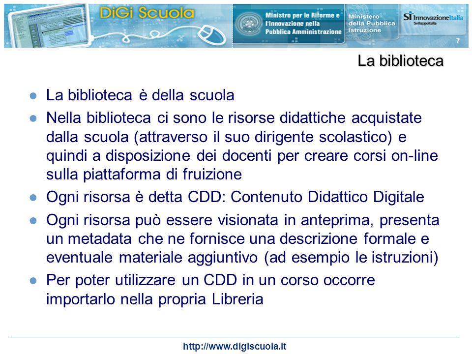 7 La biblioteca La biblioteca è della scuola Nella biblioteca ci sono le risorse didattiche acquistate dalla scuola (attraverso il suo dirigente scola