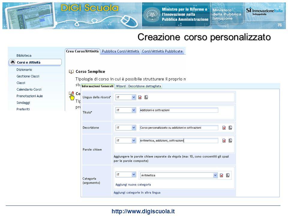 http://www.digiscuola.it 76 Creazione corso personalizzato