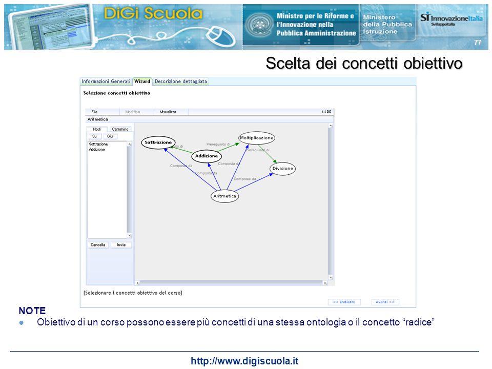 http://www.digiscuola.it 77 Scelta dei concetti obiettivo NOTE Obiettivo di un corso possono essere più concetti di una stessa ontologia o il concetto