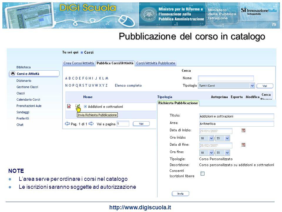 http://www.digiscuola.it 79 Pubblicazione del corso in catalogo NOTE Larea serve per ordinare i corsi nel catalogo Le iscrizioni saranno soggette ad a