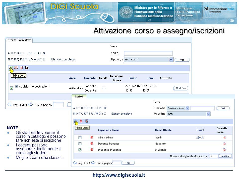 http://www.digiscuola.it 80 Attivazione corso e assegno/iscrizioni NOTE Gli studenti troveranno il corso in catalogo e possono fare richiesta di iscri