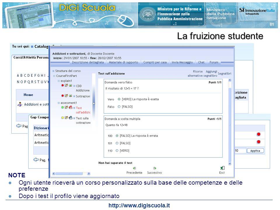 http://www.digiscuola.it 81 La fruizione studente NOTE Ogni utente riceverà un corso personalizzato sulla base delle competenze e delle preferenze Dop