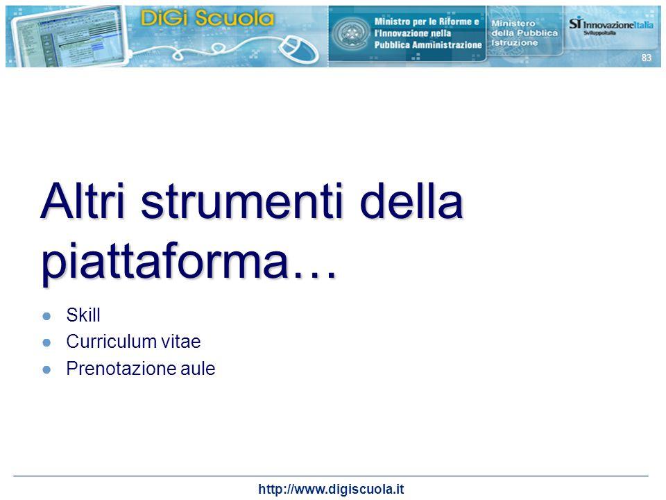 http://www.digiscuola.it 83 Altri strumenti della piattaforma… Skill Curriculum vitae Prenotazione aule