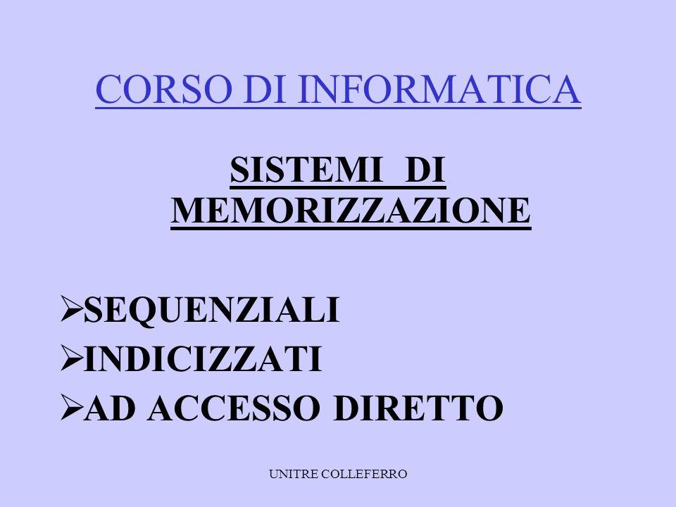 UNITRE COLLEFERRO CORSO DI INFORMATICA SISTEMI DI CODIFICA DECIMALE ESADECIMALE BINARIO