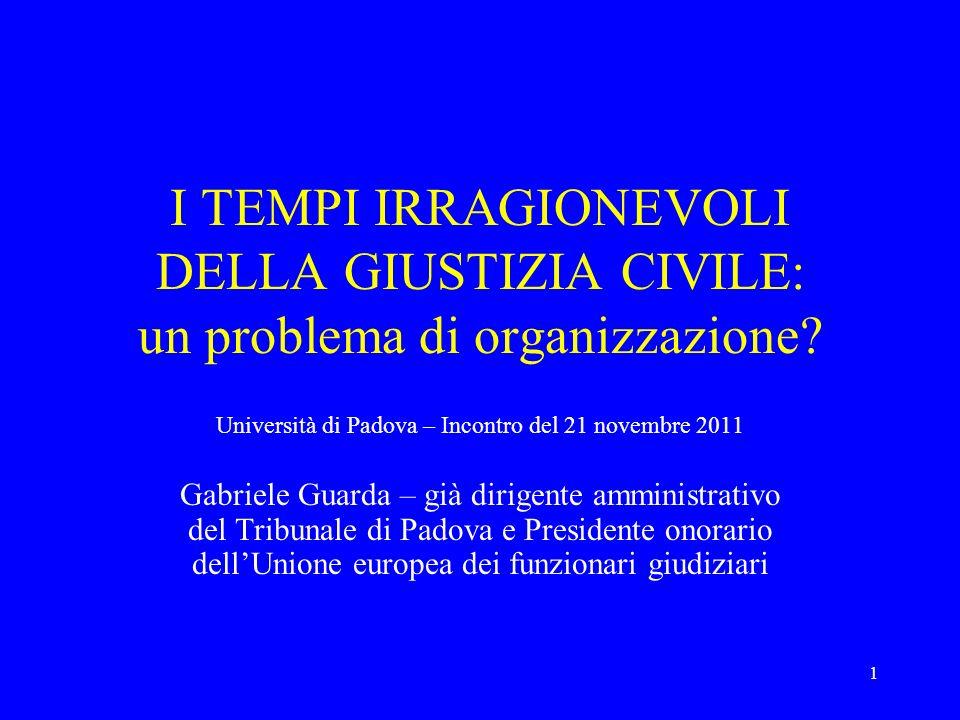 1 I TEMPI IRRAGIONEVOLI DELLA GIUSTIZIA CIVILE: un problema di organizzazione? Università di Padova – Incontro del 21 novembre 2011 Gabriele Guarda –