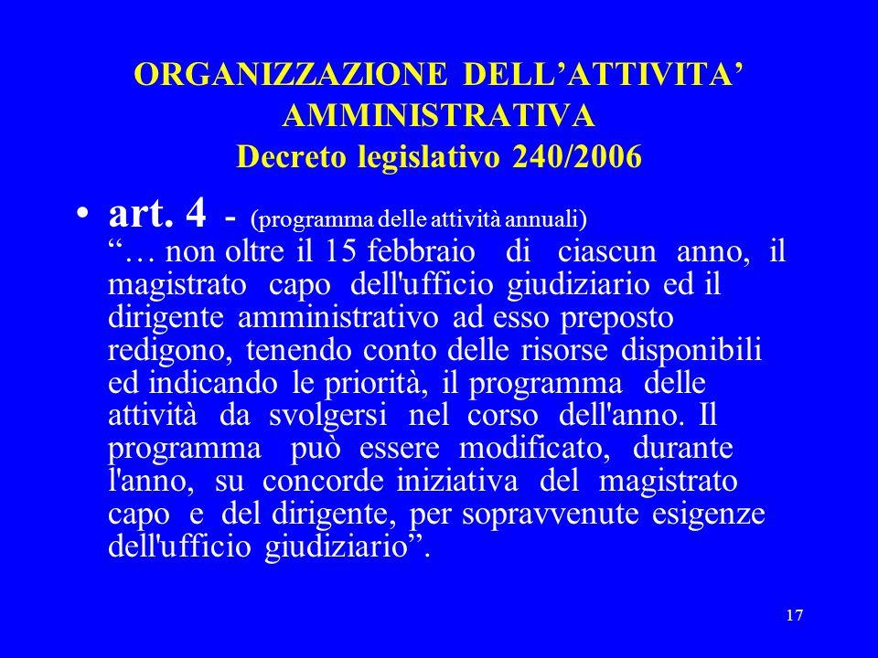 17 ORGANIZZAZIONE DELLATTIVITA AMMINISTRATIVA Decreto legislativo 240/2006 art. 4 - (programma delle attività annuali) … non oltre il 15 febbraio di c