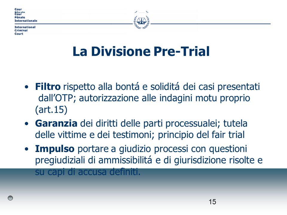 15 Filtro rispetto alla bontá e soliditá dei casi presentati dallOTP; autorizzazione alle indagini motu proprio (art.15) Garanzia dei diritti delle pa