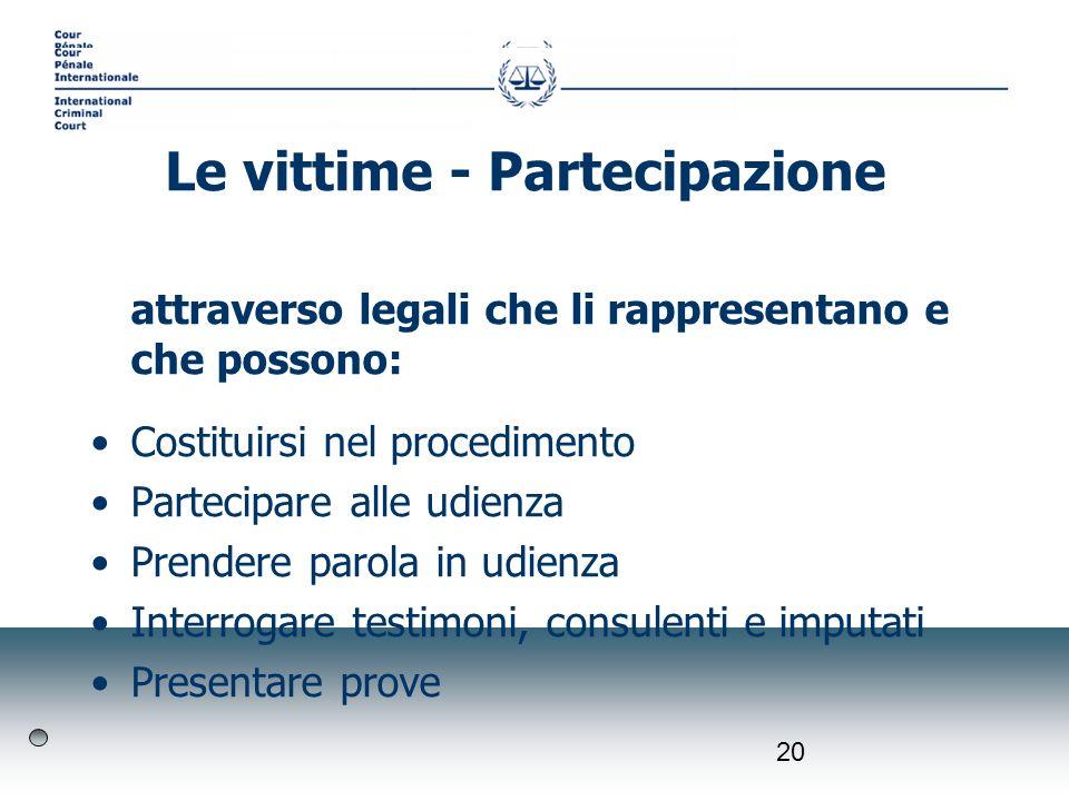 20 attraverso legali che li rappresentano e che possono: Costituirsi nel procedimento Partecipare alle udienza Prendere parola in udienza Interrogare