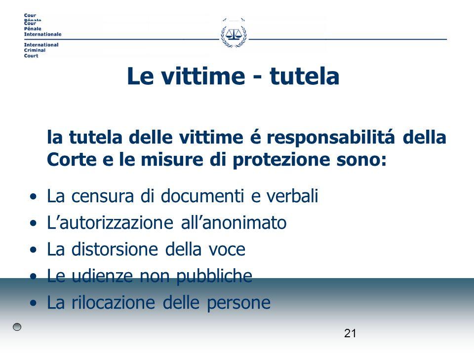 21 la tutela delle vittime é responsabilitá della Corte e le misure di protezione sono: La censura di documenti e verbali Lautorizzazione allanonimato