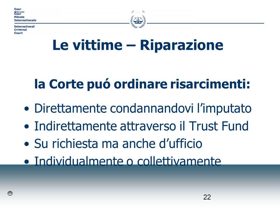 22 la Corte puó ordinare risarcimenti: Direttamente condannandovi limputato Indirettamente attraverso il Trust Fund Su richiesta ma anche dufficio Ind