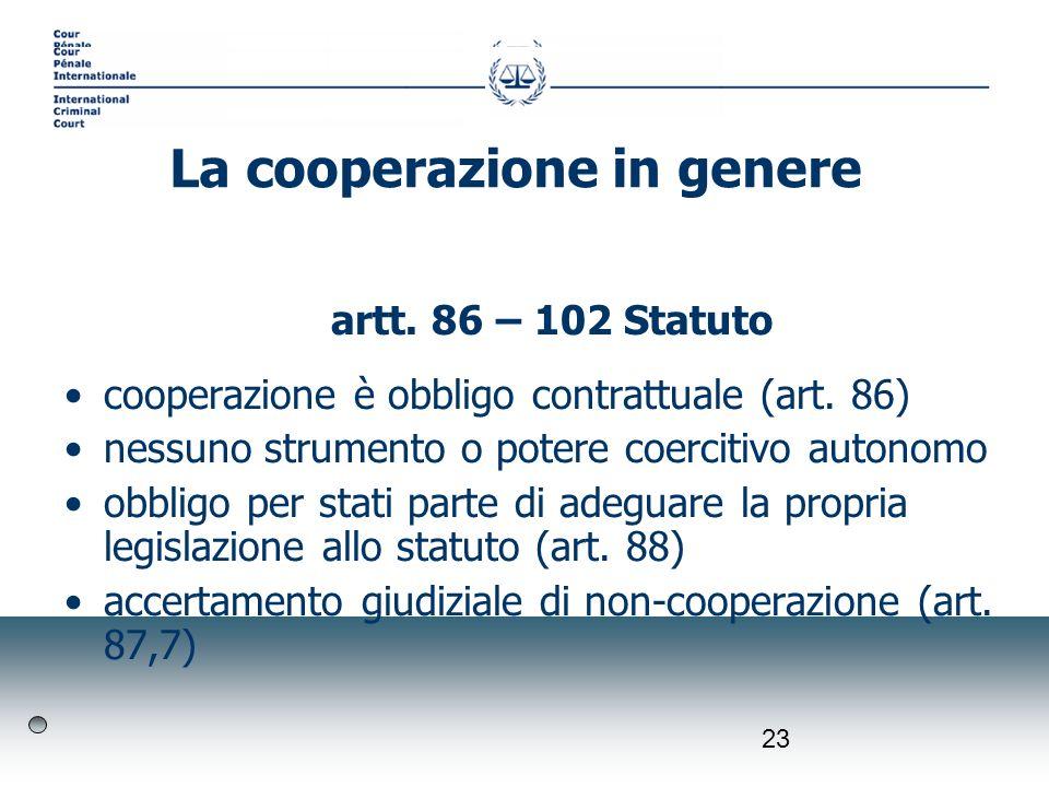 23 artt. 86 – 102 Statuto cooperazione è obbligo contrattuale (art. 86) nessuno strumento o potere coercitivo autonomo obbligo per stati parte di adeg