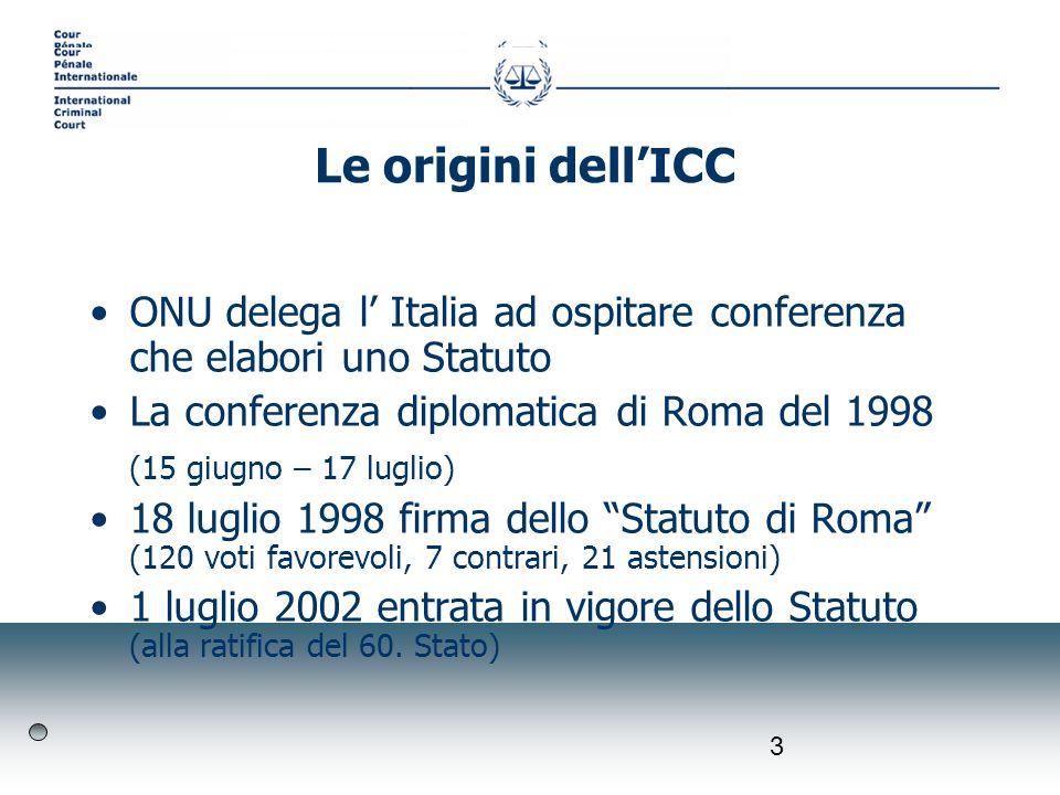 3 ONU delega l Italia ad ospitare conferenza che elabori uno Statuto La conferenza diplomatica di Roma del 1998 (15 giugno – 17 luglio) 18 luglio 1998 firma dello Statuto di Roma (120 voti favorevoli, 7 contrari, 21 astensioni) 1 luglio 2002 entrata in vigore dello Statuto (alla ratifica del 60.