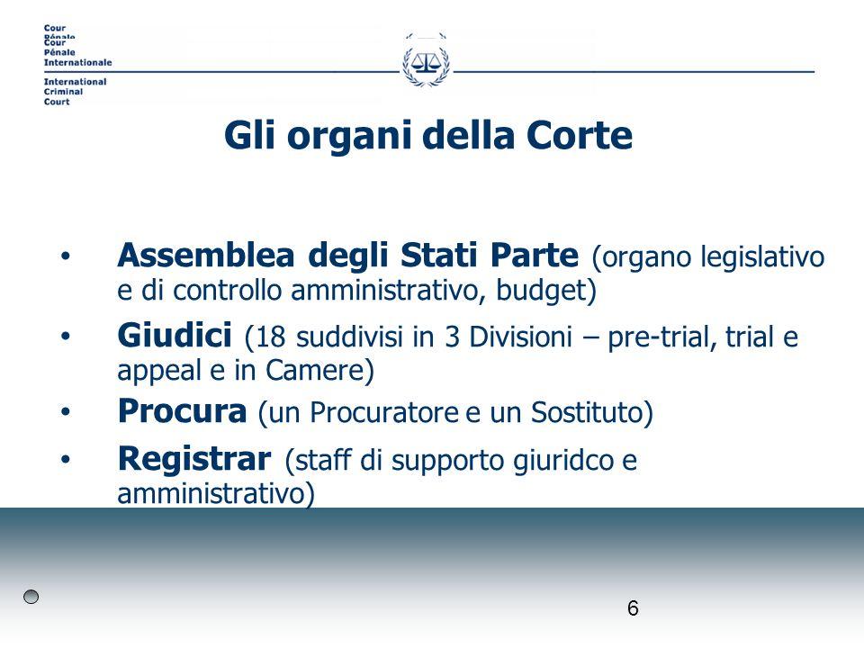 6 Assemblea degli Stati Parte (organo legislativo e di controllo amministrativo, budget) Giudici (18 suddivisi in 3 Divisioni – pre-trial, trial e app