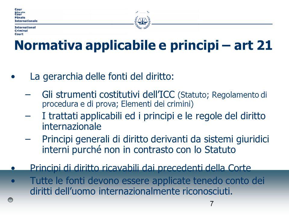 7 La gerarchia delle fonti del diritto: –Gli strumenti costitutivi dellICC (Statuto; Regolamento di procedura e di prova; Elementi dei crimini) –I tra