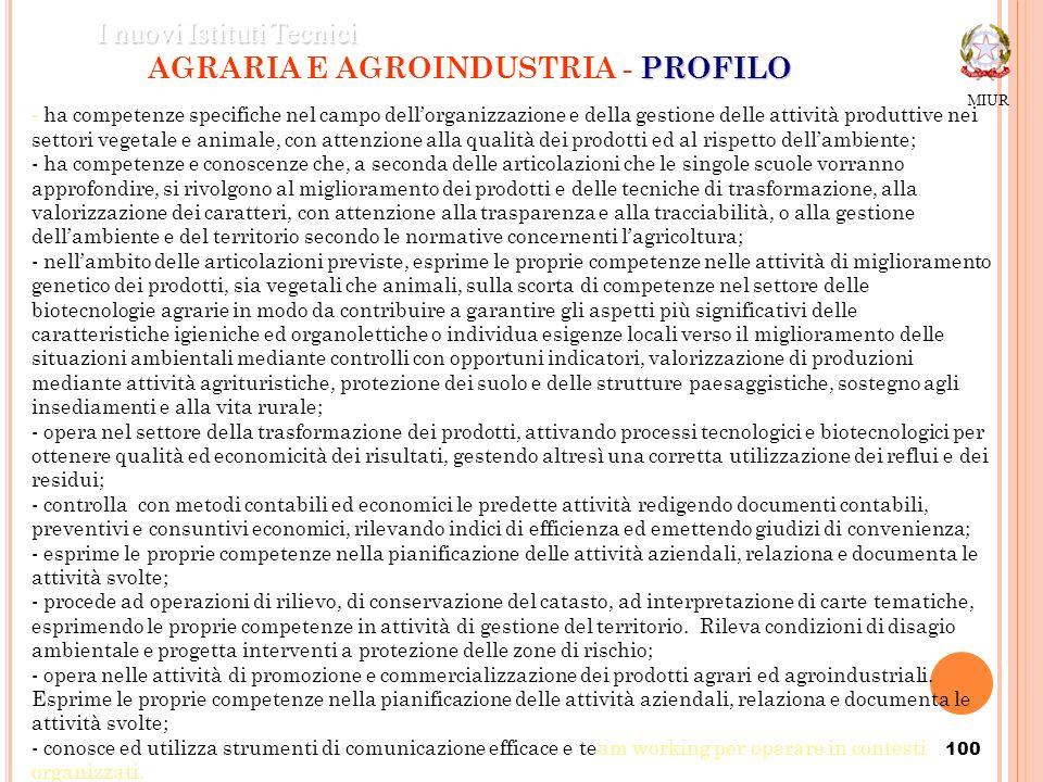 100 PROFILO AGRARIA E AGROINDUSTRIA - PROFILO MIUR I nuovi Istituti Tecnici - ha competenze specifiche nel campo dellorganizzazione e della gestione d