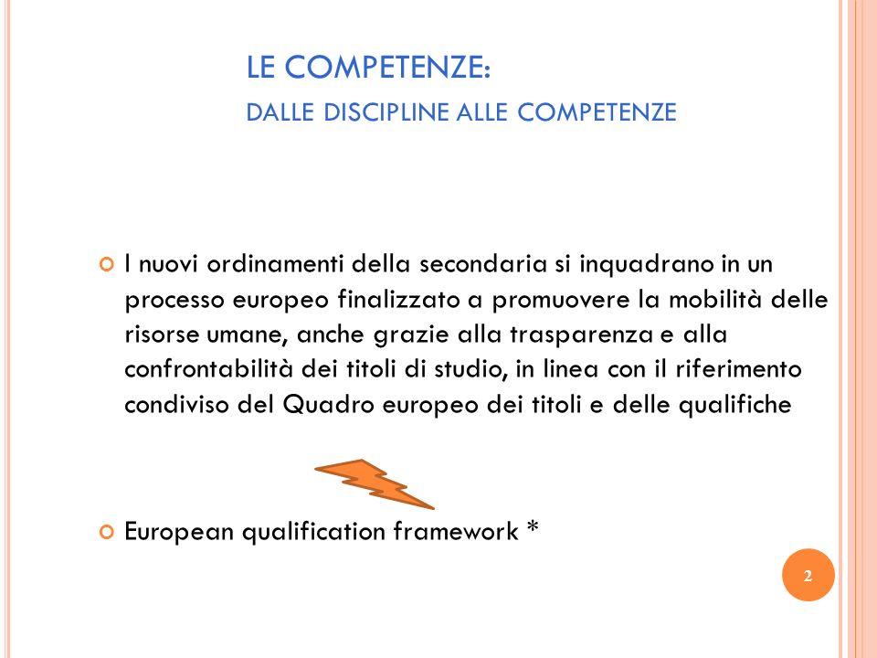 2 LE COMPETENZE: DALLE DISCIPLINE ALLE COMPETENZE I nuovi ordinamenti della secondaria si inquadrano in un processo europeo finalizzato a promuovere l