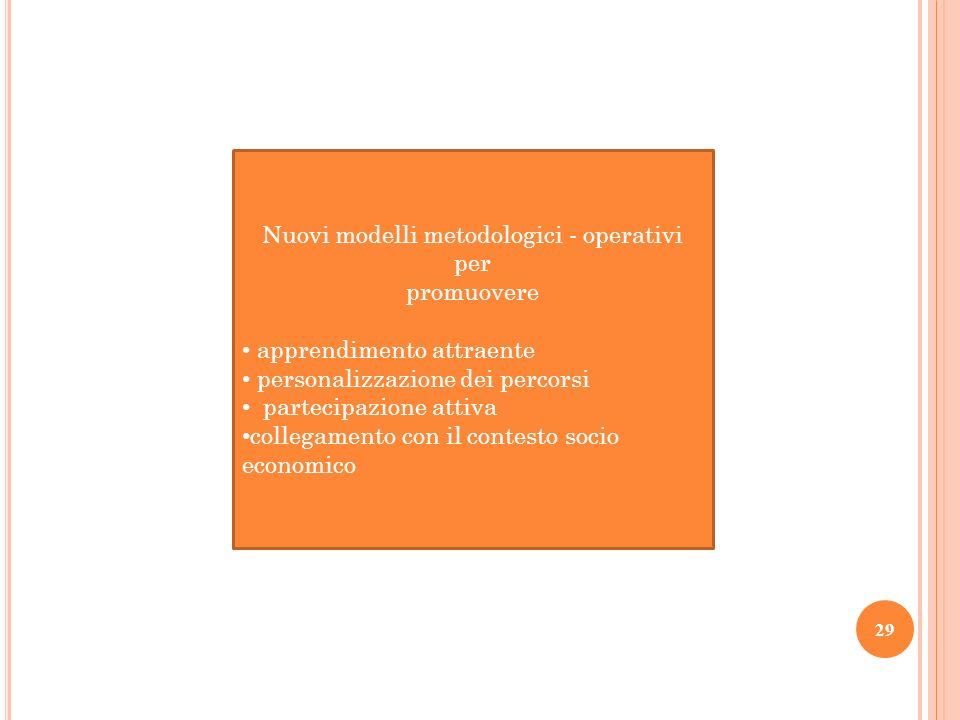 Nuovi modelli metodologici - operativi per promuovere apprendimento attraente personalizzazione dei percorsi partecipazione attiva collegamento con il
