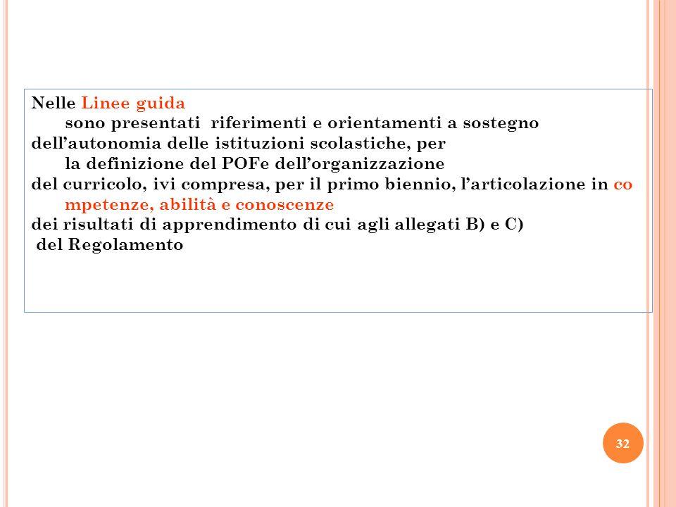 32 Nelle Linee guida sono presentati riferimenti e orientamenti a sostegno dellautonomia delle istituzioni scolastiche, per la definizione del POFe de