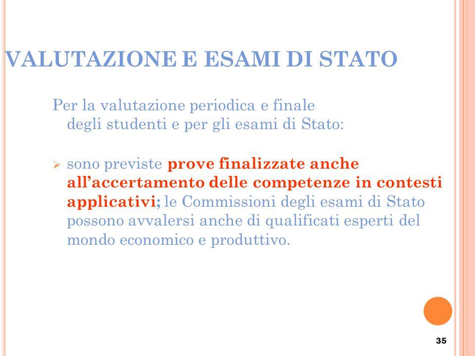 35 VALUTAZIONE E ESAMI DI STATO Per la valutazione periodica e finale degli studenti e per gli esami di Stato: sono previste prove finalizzate anche a