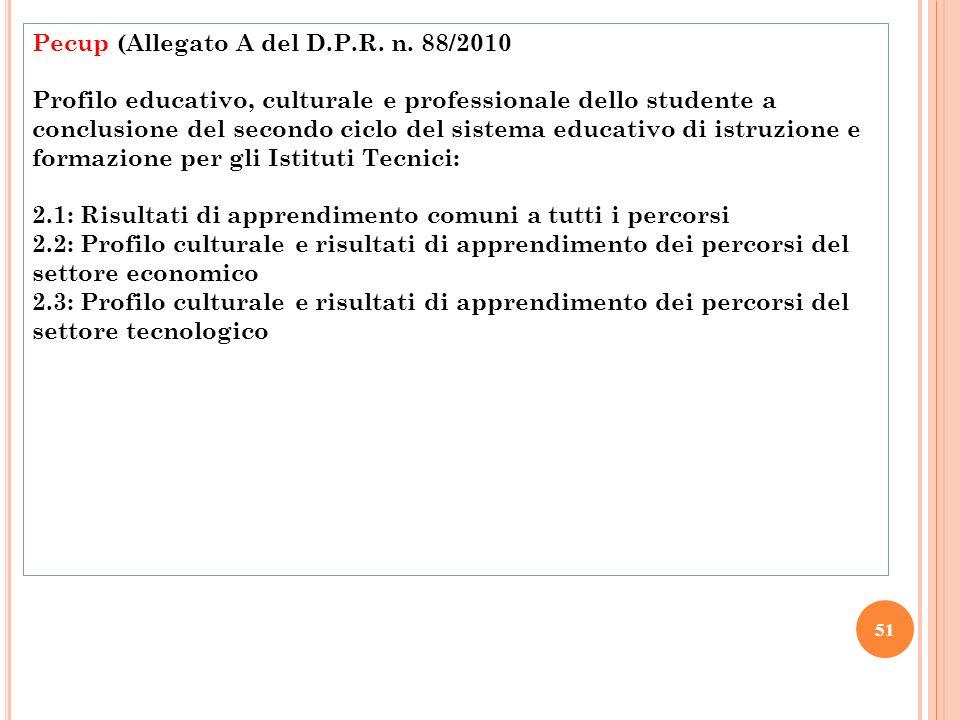51 Pecup (Allegato A del D.P.R. n. 88/2010 Profilo educativo, culturale e professionale dello studente a conclusione del secondo ciclo del sistema edu