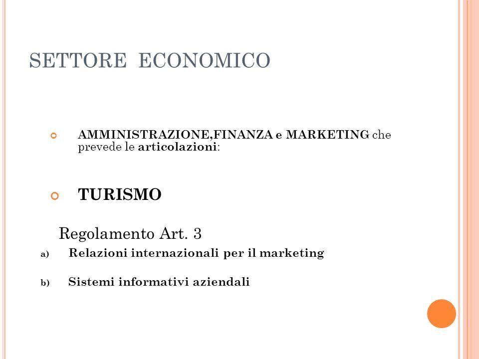SETTORE ECONOMICO AMMINISTRAZIONE,FINANZA e MARKETING che prevede le articolazioni : TURISMO Regolamento Art. 3 a) Relazioni internazionali per il mar