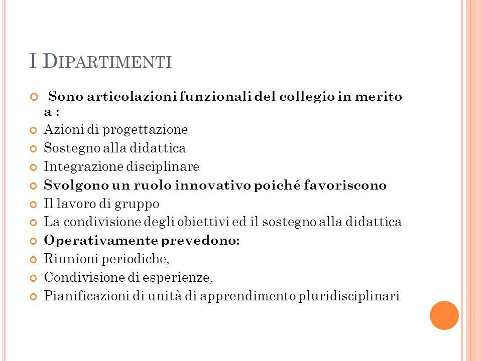 I D IPARTIMENTI Sono articolazioni funzionali del collegio in merito a : Azioni di progettazione Sostegno alla didattica Integrazione disciplinare Svo