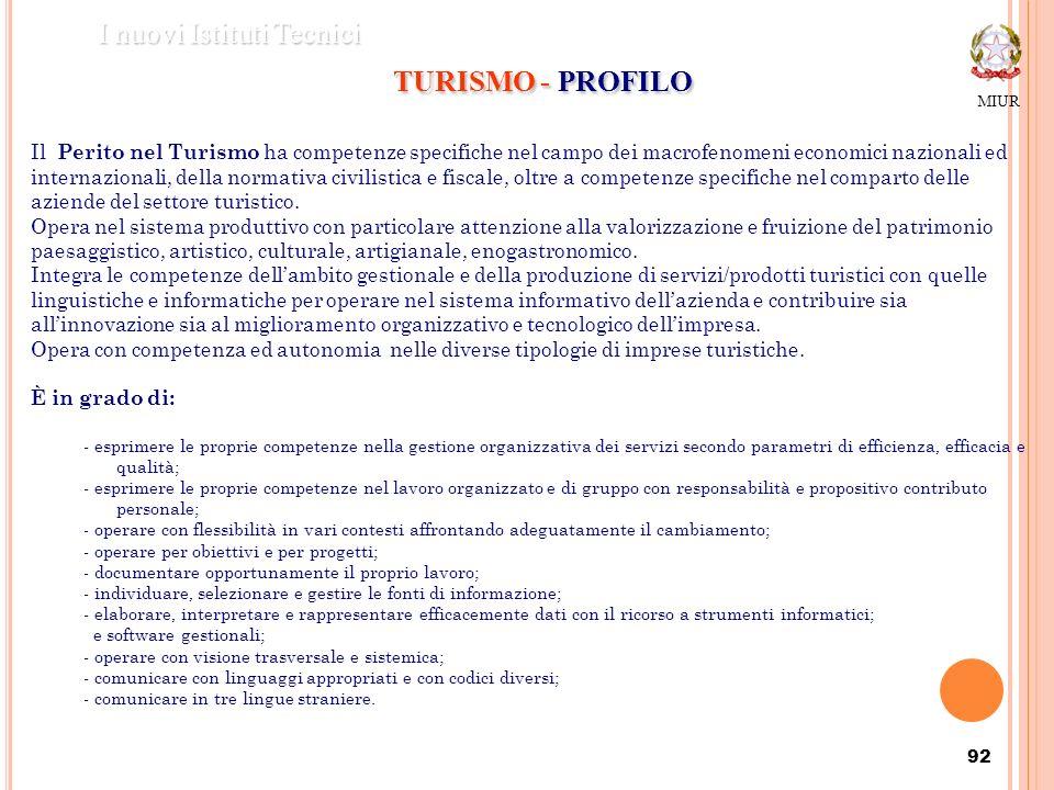 92 MIUR I nuovi Istituti Tecnici TURISMO - PROFILO Il Perito nel Turismo ha competenze specifiche nel campo dei macrofenomeni economici nazionali ed i