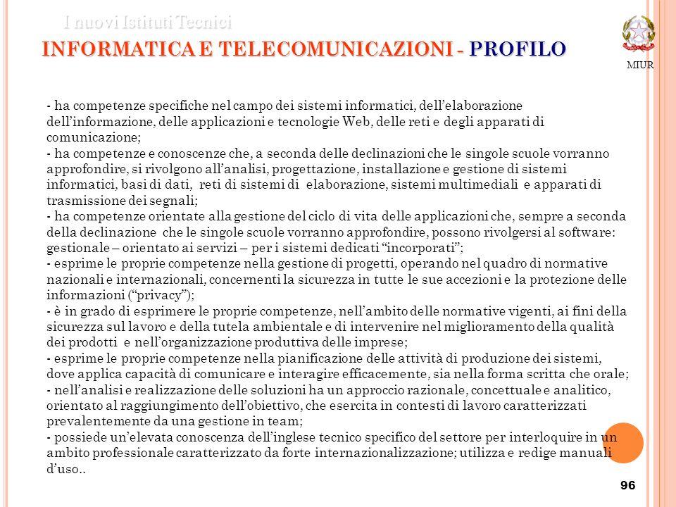 96 INFORMATICA E TELECOMUNICAZIONI - PROFILO MIUR I nuovi Istituti Tecnici - ha competenze specifiche nel campo dei sistemi informatici, dellelaborazi