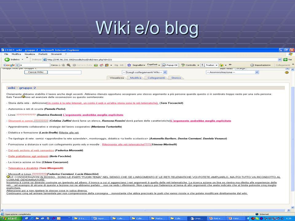 Wiki e/o blog