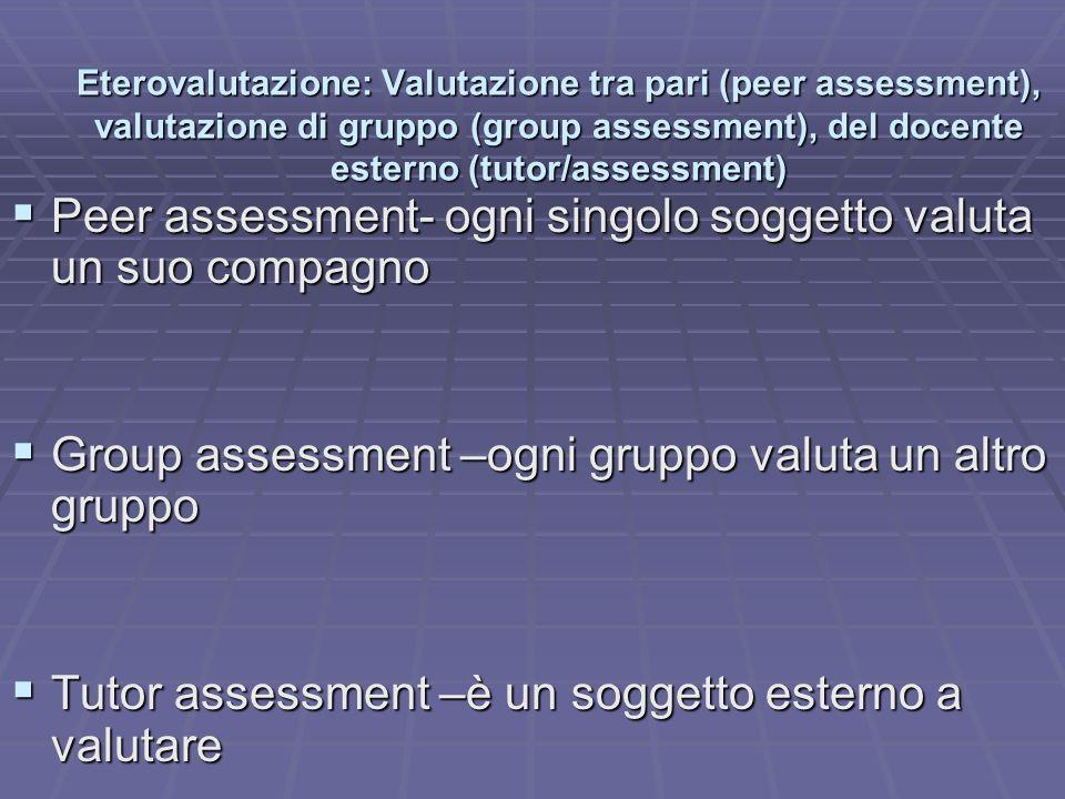 Eterovalutazione: Valutazione tra pari (peer assessment), valutazione di gruppo (group assessment), del docente esterno (tutor/assessment) Peer assess