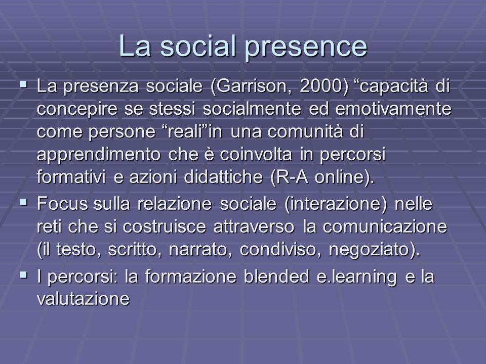 La social presence La presenza sociale (Garrison, 2000) capacità di concepire se stessi socialmente ed emotivamente come persone realiin una comunità