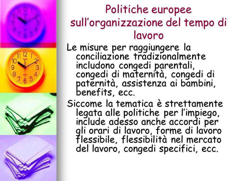 Politiche europee sullorganizzazione del tempo di lavoro Le misure per raggiungere la conciliazione tradizionalmente includono congedi parentali, cong