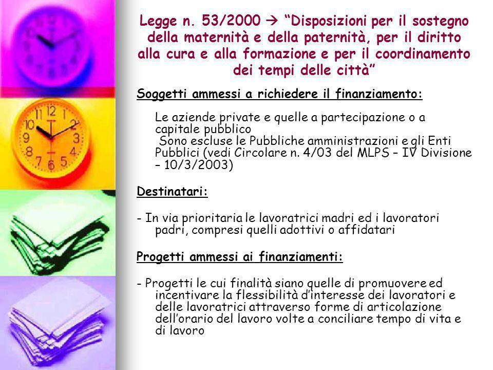 Legge n. 53/2000 Disposizioni per il sostegno della maternità e della paternità, per il diritto alla cura e alla formazione e per il coordinamento dei