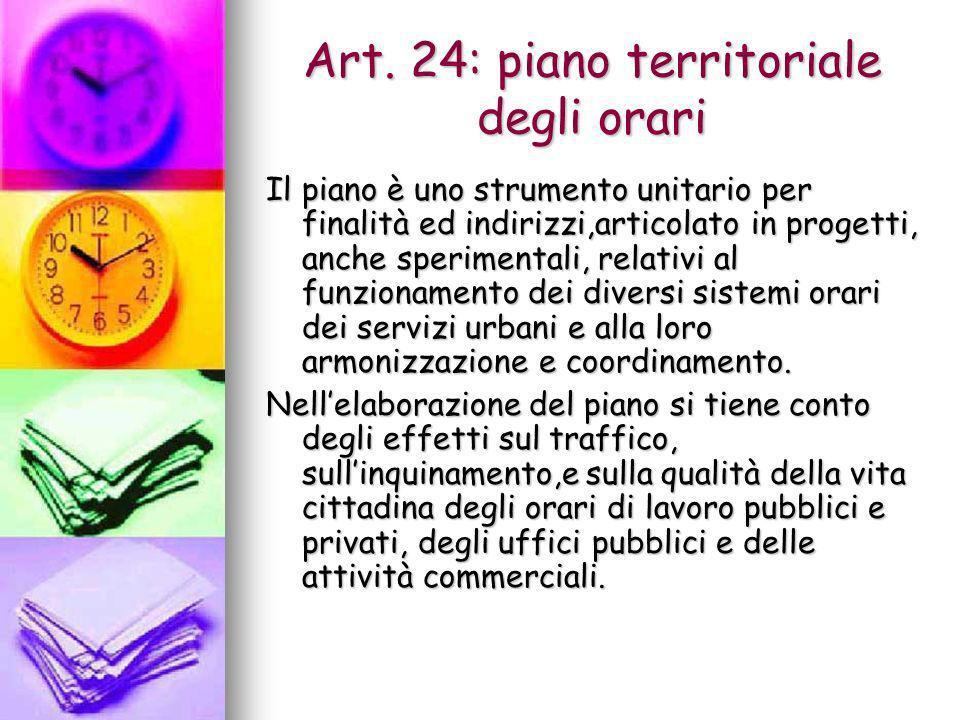 Art. 24: piano territoriale degli orari Il piano è uno strumento unitario per finalità ed indirizzi,articolato in progetti, anche sperimentali, relati