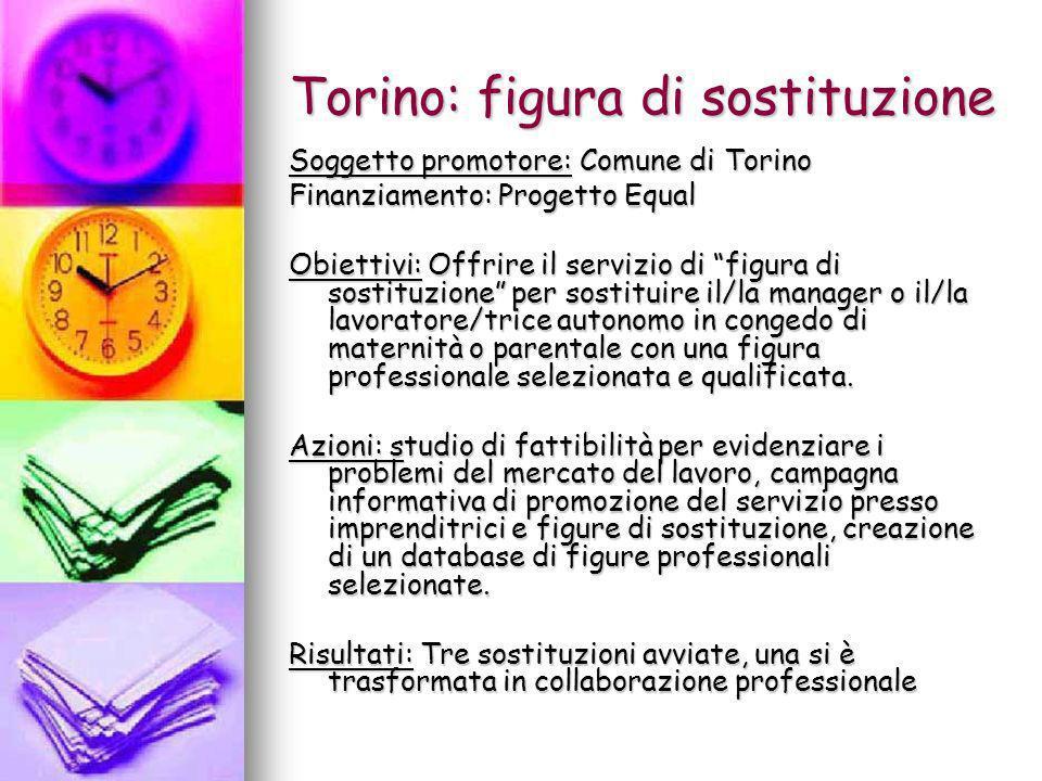 Torino: figura di sostituzione Soggetto promotore: Comune di Torino Finanziamento: Progetto Equal Obiettivi: Offrire il servizio di figura di sostituz