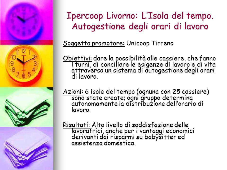 Ipercoop Livorno: LIsola del tempo. Autogestione degli orari di lavoro Soggetto promotore: Unicoop Tirreno Obiettivi: dare la possibilità alle cassier