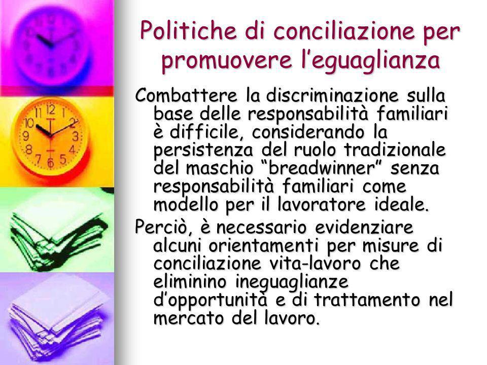 Politiche di conciliazione per promuovere leguaglianza Combattere la discriminazione sulla base delle responsabilità familiari è difficile, consideran