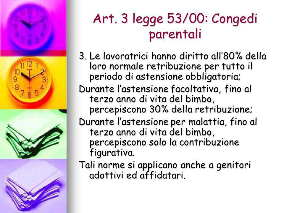 Art. 3 legge 53/00: Congedi parentali 3. Le lavoratrici hanno diritto all80% della loro normale retribuzione per tutto il periodo di astensione obblig