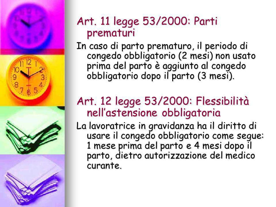 Art. 11 legge 53/2000: Parti prematuri In caso di parto prematuro, il periodo di congedo obbligatorio (2 mesi) non usato prima del parto è aggiunto al
