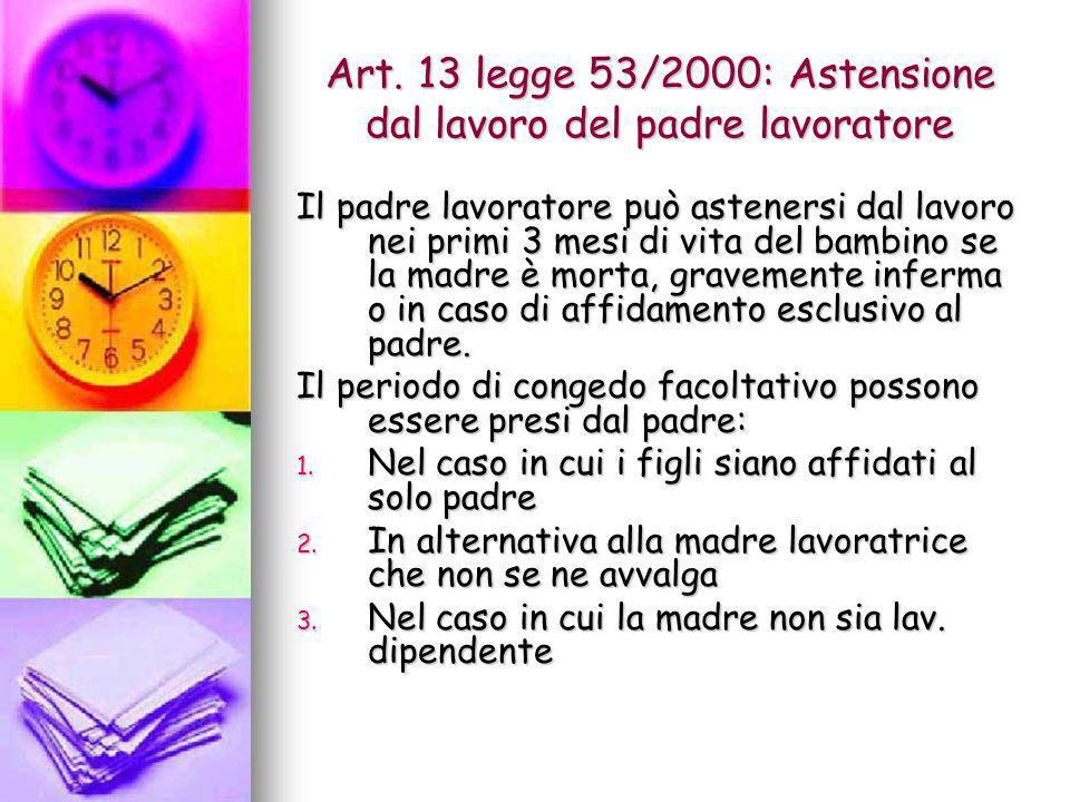Art. 13 legge 53/2000: Astensione dal lavoro del padre lavoratore Il padre lavoratore può astenersi dal lavoro nei primi 3 mesi di vita del bambino se