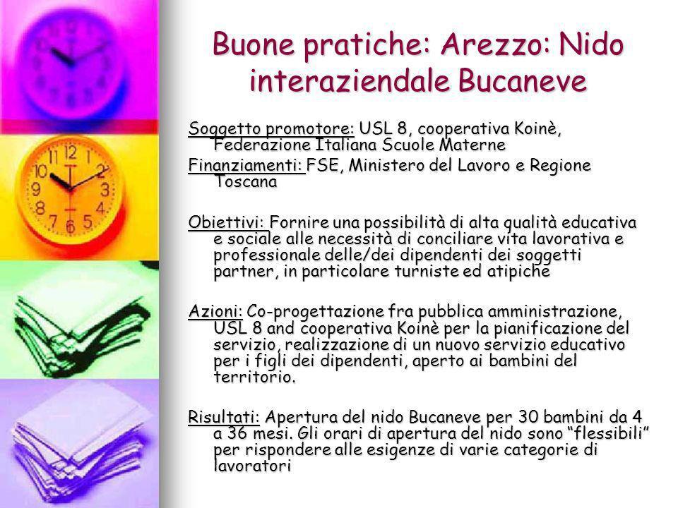 Buone pratiche: Arezzo: Nido interaziendale Bucaneve Soggetto promotore: USL 8, cooperativa Koinè, Federazione Italiana Scuole Materne Finanziamenti: