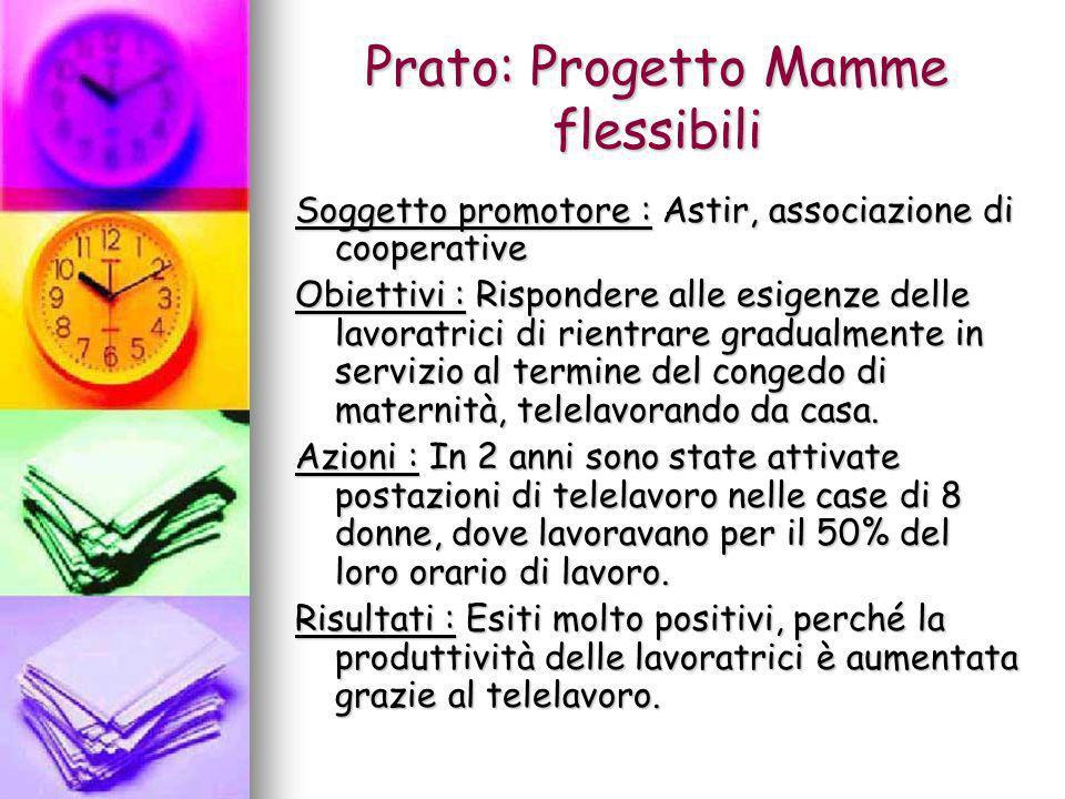Prato: Progetto Mamme flessibili Soggetto promotore : Astir, associazione di cooperative Obiettivi : Rispondere alle esigenze delle lavoratrici di rie