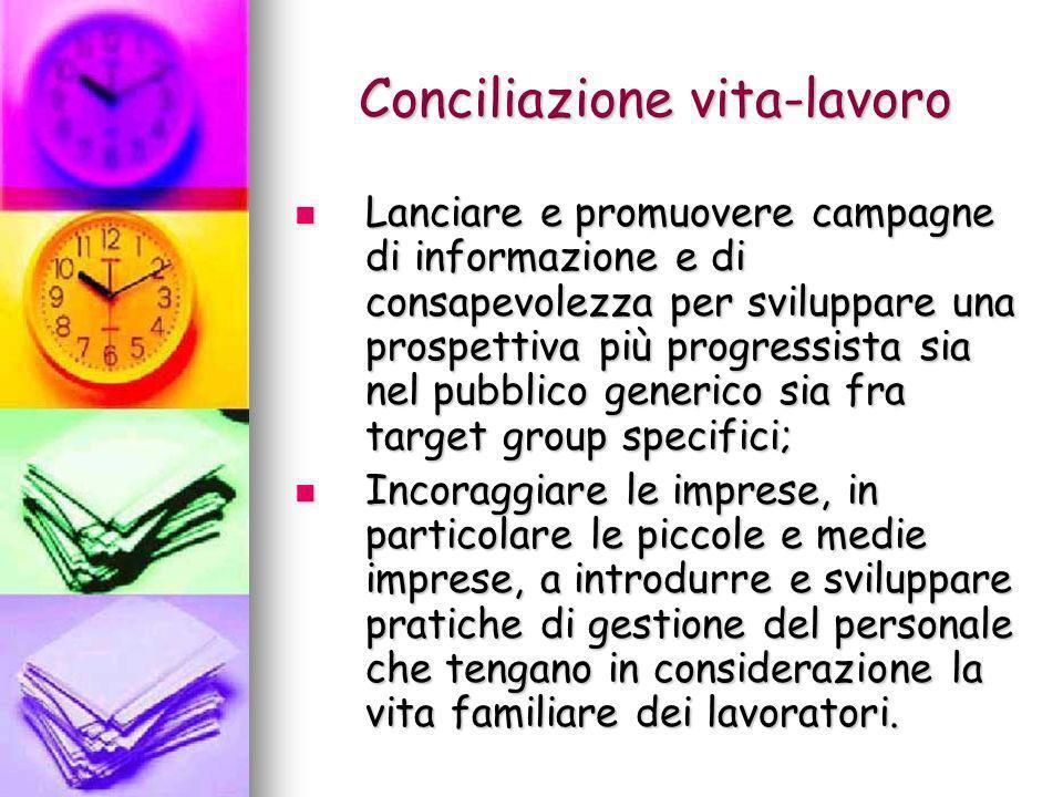 Conciliazione vita-lavoro Lanciare e promuovere campagne di informazione e di consapevolezza per sviluppare una prospettiva più progressista sia nel p